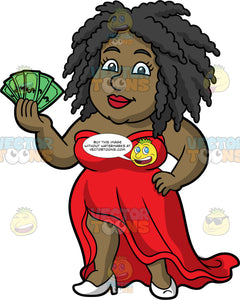Lisa Holding Cash In Her Hand. A black woman wearing a long red, strapless dress and white high heels, standing with one hand on her hip and the other hand holding a bunch of money fanned out