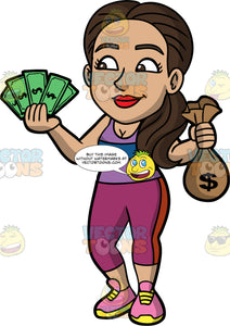 Isabella Holding Cash And A Bag Of Money. A Hispanic woman wearing workout clothes and running shoes, holding cash in one hand and a small sack of money in the other