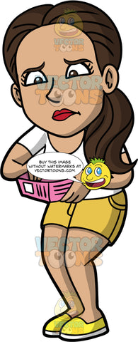 Isabella Looking In Her Empty Wallet. A Hispanic woman wearing yellow shorts, a white t-shirt, and yellow shoes, looking upset as she opens her wallet and finds that it is empty