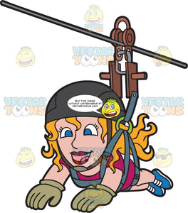 A Joyful Zip Lining Woman