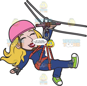 A Cheerful Zip Lining Woman