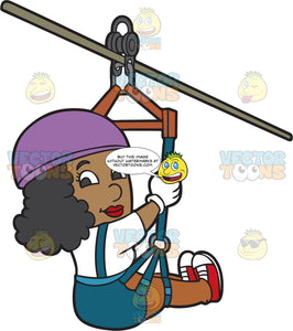 A Black Woman Having Fun Zip Lining