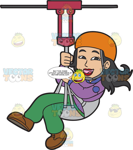 A Happy Woman Zip Lining