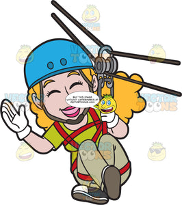 A Giddy Woman Zip Lining