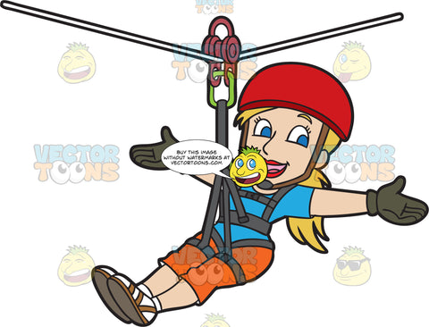 A Confident Woman Zip Lining