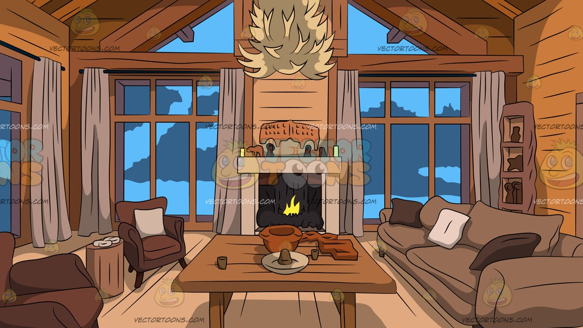 Wood Cabin Living Room Background