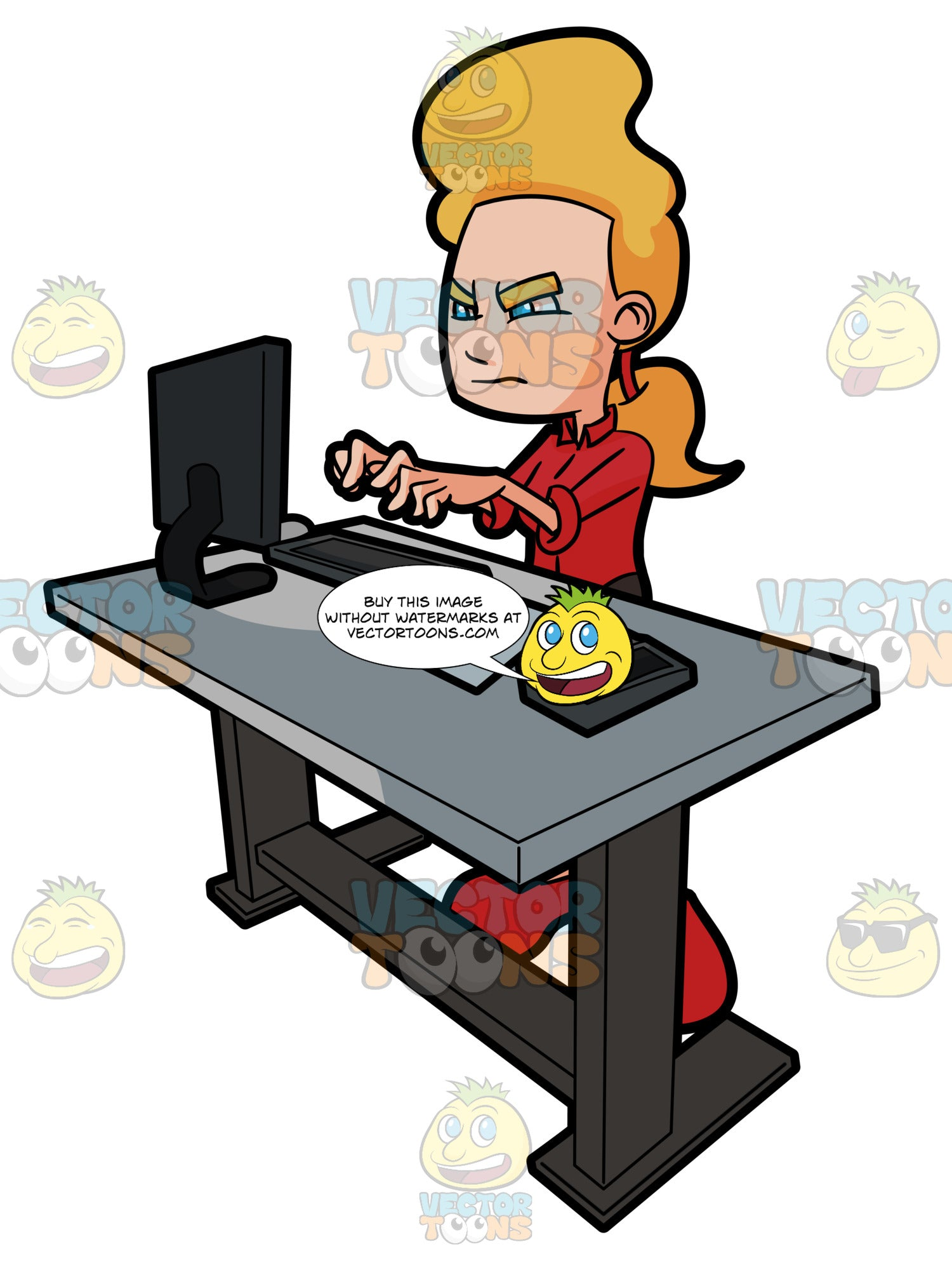 A Woman Angrily Works At Her Standing Desk Station