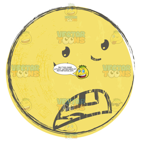 Troubled Rough Sketched Faded Yellow Smiley Face Emoticon Emoticon Frowning, Open Mouth