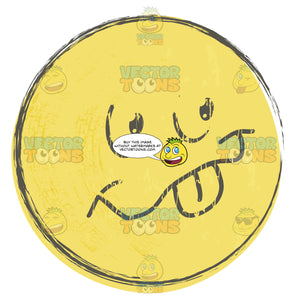Playful Rough Sketched Faded Yellow Smiley Face Emoticon Sticking Out Tongue, Smile, Happy