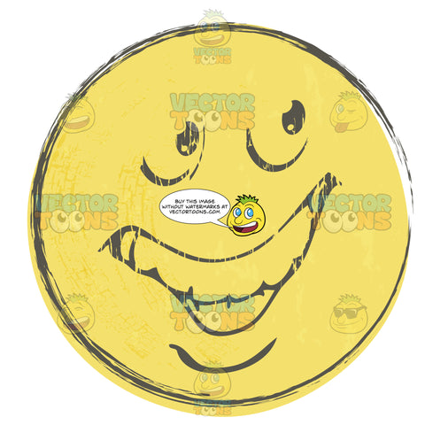 Deceitful Smiley Face Emoticon, Looks Sly, Up To No Good, Looking Over Shoulder, Right, Huge Grin Rough Sketched Faded Yellow Smiley Face Emoticon