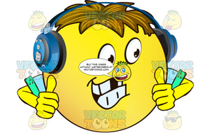 Missing Tooth Yellow Smiley Face Emoticon With Arms, Brown Hair And Headphones Looks Right, Gives Two Thumbs Up