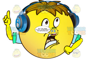 Lecturing Yellow Smiley Face Emoticon With Brown Hair, Headphones And Arms, One Hand In Air, Index Finger Pointing Upwards, Giving A Speech