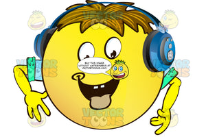 Hungry Yellow Smiley Face Emoticon With Arms, Brown Hair And Headphones With Tongue Hanging Out With Arms Wearing Rolled Up Sleeves