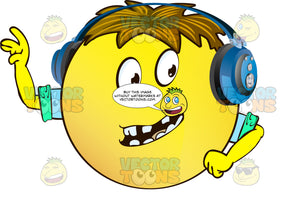 Gapped Block Teeth Yellow Smiley Face Emoticon With Arms, Brown Hair And Headphones Leading With Arms, Wearing Rolled Up Sleeves