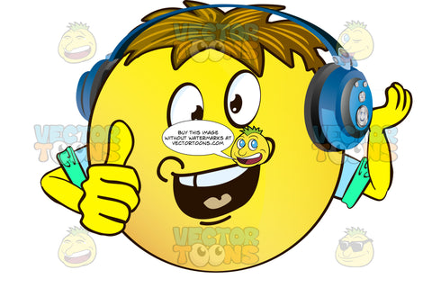 Dimpled, Open-Mouth Yellow Smiley Face Emoticon With Arms, Brown Hair And Headphones One Hand Raised Cupped, Other Thumbs Up, Arms Wearing Rolled Up Sleeves