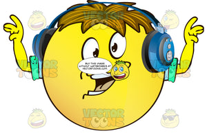 Proclaiming Yellow Smiley Face Emoticon With Arms, Brown Hair And Headphones With Arms Out Stretched And Up Wearing Rolled Up Sleeves