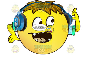 Talking Yellow Smiley Face Emoticon With Arms, Brown Hair And Headphones, Open Mouth, Pointy Teeth