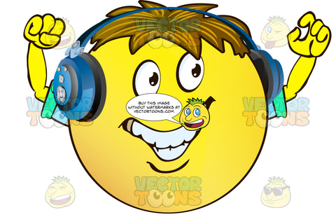 Cheering, Grinning, Yellow Smiley Face Emoticon With Arms, Brown Hair And Headphones Arms Raised With Rolled Up Sleeves