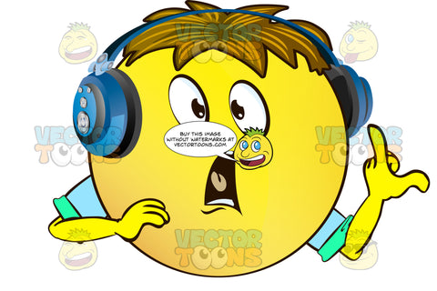 Yelling, Gasping, Shocked Yellow Smiley Face Emoticon With Arms, Brown Hair And Headphones