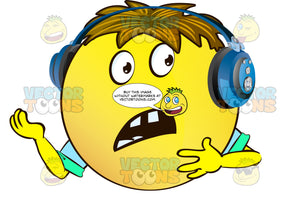 Buck Toothed Surprised Frowning Yellow Smiley Face Emoticon With Arms, Brown Hair And Headphones