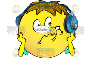 Frowning Distressed Yellow Smiley Face Emoticon With Arms, Brown Hair And Headphones Olding Face In Hands Wearing Rolled Up Sleeves