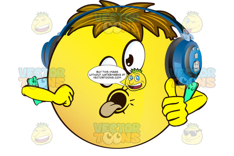 Goofy Yellow Smiley Face Emoticon With Arms, Brown Hair And Headphones Sticking Out Tongue And Giving Thumbs Up With Rolled Up Sleeves