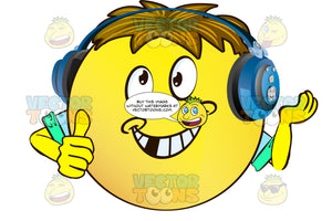 Dreamy Expression Dimpled Yellow Smiley Face Emoticon With Arms, Brown Hair And Headphones Leaning On Hand, Thumbs Up Wearing Rolled Up Sleeves