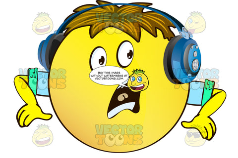 Shocked Yellow Smiley Face Emoticon With Arms, Brown Hair And Headphones With Wide Open Mouth, Full Teeth, Hands Down, Arms Wearing Rolled Up Sleeves