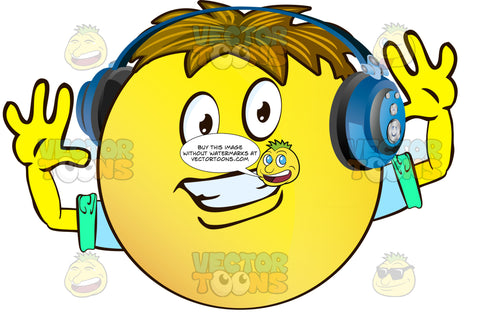 Smiling, Closed Teethyellow Smiley Face Emoticon With Arms, Brown Hair And Headphones With Hands Spread Wide Apart, Arms Out, Wearing Rolled Up Sleeves
