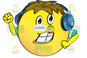 Cheering Yellow Smiley Face Emoticon With Arms, Brown Hair And Headphones With Arm Raised, Fist Clenched, Strong Chin, Wearing Rolled Up Sleeves