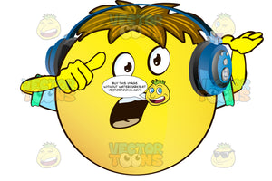 Questioning Yellow Smiley Face Emoticon With Arms, Brown Hair And Headphones With Open Mouth Arms Wide Open, Palms Up, Wearing Rolled Up Sleeves