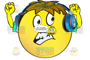 Apprehensive Yellow Smiley Face Emoticon With Arms, Brown Hair And Headphones With Grinding Teeth, Upraised Arms Wearing Rolled Up Sleeves