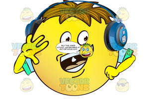 Sweating Yellow Smiley Face Emoticon With Arms, Brown Hair And Headphones