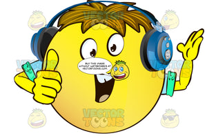 Encouraging Yellow Smiley Face Emoticon With Arms, Brown Hair And Headphones, Giving Thumbs Up