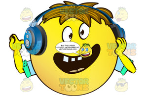 Dumbfounded Yellow Smiley Face Emoticon With Arms, Brown Hair And Headphones With Hand On Face
