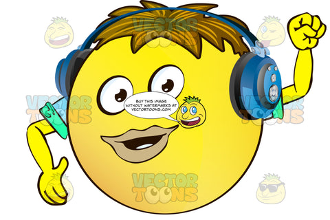Full Lipped Yellow Smiley Face Emoticon With Arms, Brown Hair And Headphones
