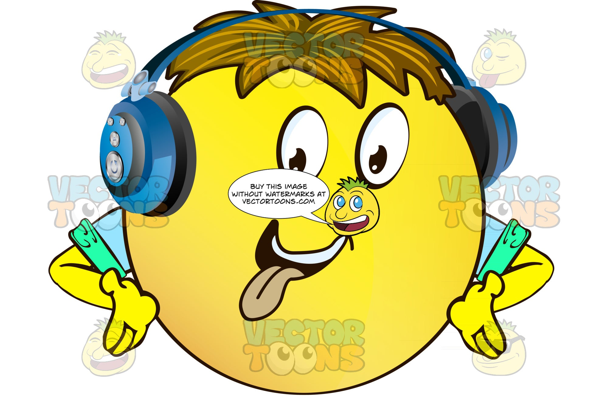 Tongue Out Yellow Smiley Face Emoticon With Arms, Brown Hair And Headphones Hands Upturned Arms Wearing Rolled Up Sleeves