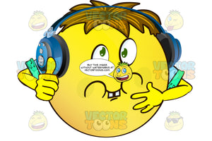 Sick Yellow Smiley Face Emoticon With Arms, Brown Hair And Headphones With Green Eyes, Full Cheeks