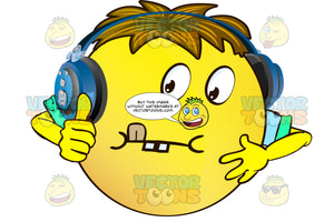 Thinking Yellow Smiley Face Emoticon With Arms, Brown Hair And Headphones With Tongue Out In Concentration