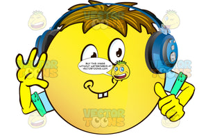 Cheerful Yellow Smiley Face Emoticon With Arms, Brown Hair And Headphones Giving Thumbs Up Sign