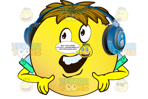 Talking Yellow Smiley Face Emoticon With Arms, Brown Hair And Headphones With Cupped Hands Pointing Downward