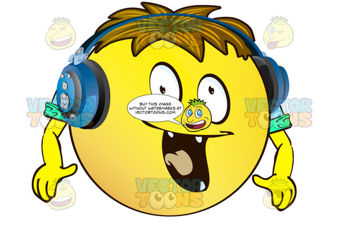 Excited Yellow Smiley Face Emoticon With Arms, Brown Hair And Headphones With Pointy Teeth