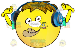 Big Lipped, Creepy Yellow Smiley Face Emoticon With Arms, Brown Hair And Headphones With Rasied Arms