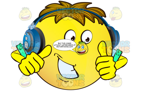 Approving, Encouragaing Yellow Smiley Face Emoticon With Arms, Brown Hair And Headphones With Two Thumbs Up
