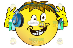 Hands Up Joyful Yellow Smiley Face Emoticon With Arms, Brown Hair And Headphones