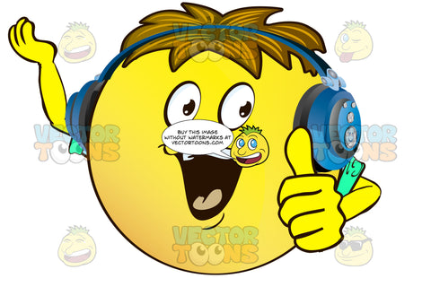 Enthusiastic, Cheering Yellow Smiley Face Emoticon With Arms, Brown Hair And Headphones
