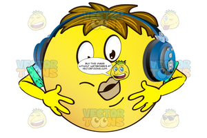 Allergic Reaction Yellow Smiley Face Emoticon With Arms, Brown Hair And Headphones With Puffy Face