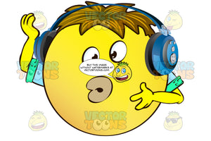 Puckered Lips Kissy Face Yellow Smiley Face Emoticon With Arms, Brown Hair And Headphones