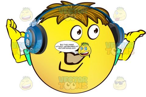 Moustached Yellow Smiley Face Emoticon With Arms, Brown Hair And Headphones Strong Manly Chin Arms Up