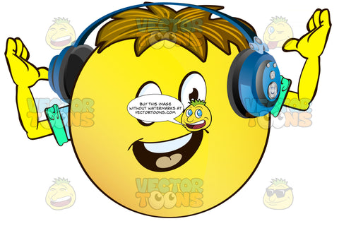 Cheering Yellow Smiley Face Emoticon With Arms, Brown Hair And Headphones With Arms Up In Cheer